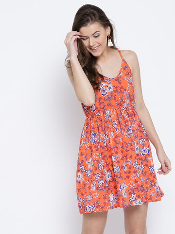 Sera Women Orange & Blue Floral Print A-Line Dress