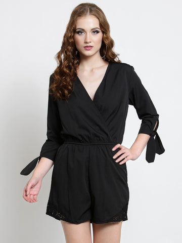 Sera Women Black Solid Wrap Playsuit