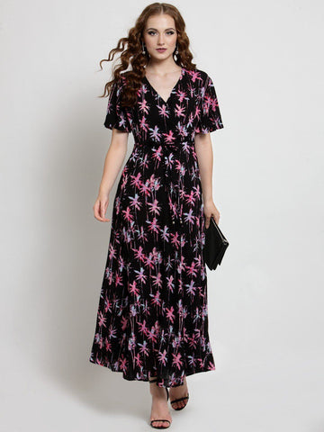 Sera Women Black Printed Maxi Dress