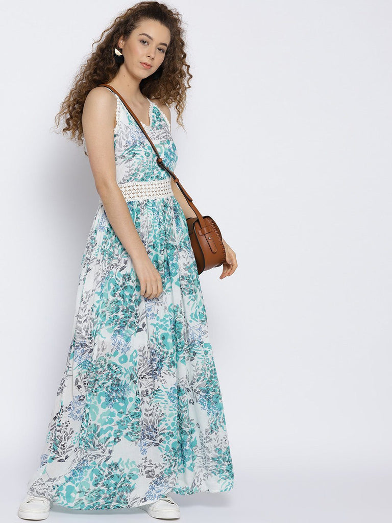 Sera Women White & Blue Printed Maxi Dress