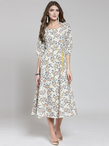 Sera Women Cream-Coloured Printed Fit and Flare Dress