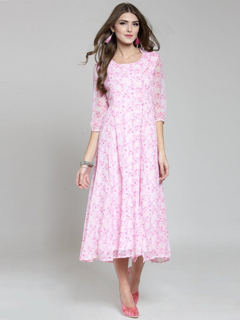 Sera Women Pink Printed Fit and Flare Dress