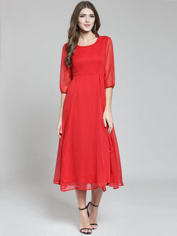 Sera Women Red Solid Fit and Flare Dress