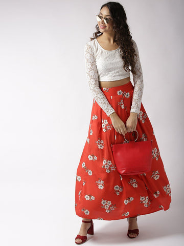 Sera Women White & Red Printed Two-Piece Dress