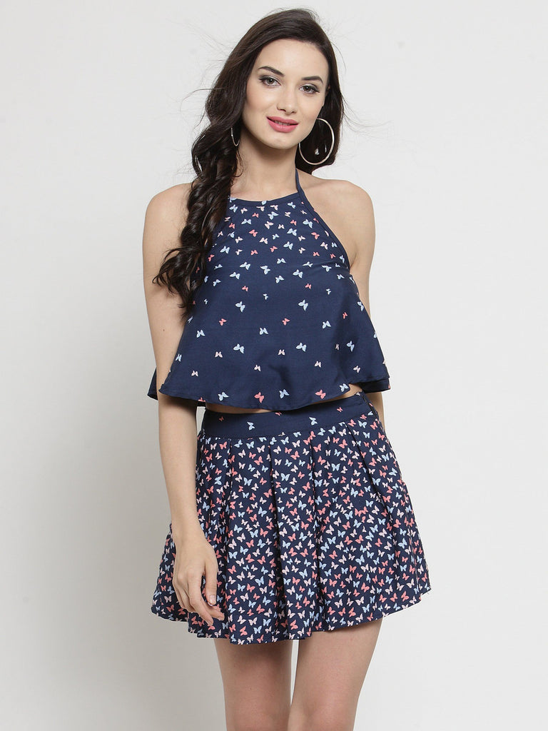 Sera Women Navy Blue Printed Top with Skirt