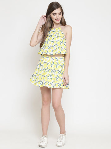 Sera Women Printed Yellow A-Line Dress