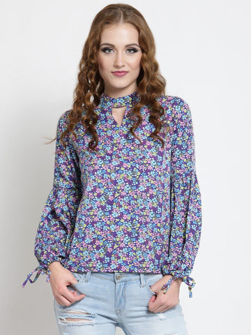 Sera Women Purple Printed Top