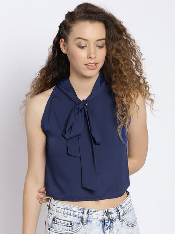 Sera Women Navy Blue Solid Crop Top