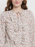Sera Women Off-White Printed Cinched Waist Top