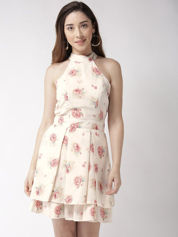 Sera Women Off-White & Pink Printed Fit and Flare Dress