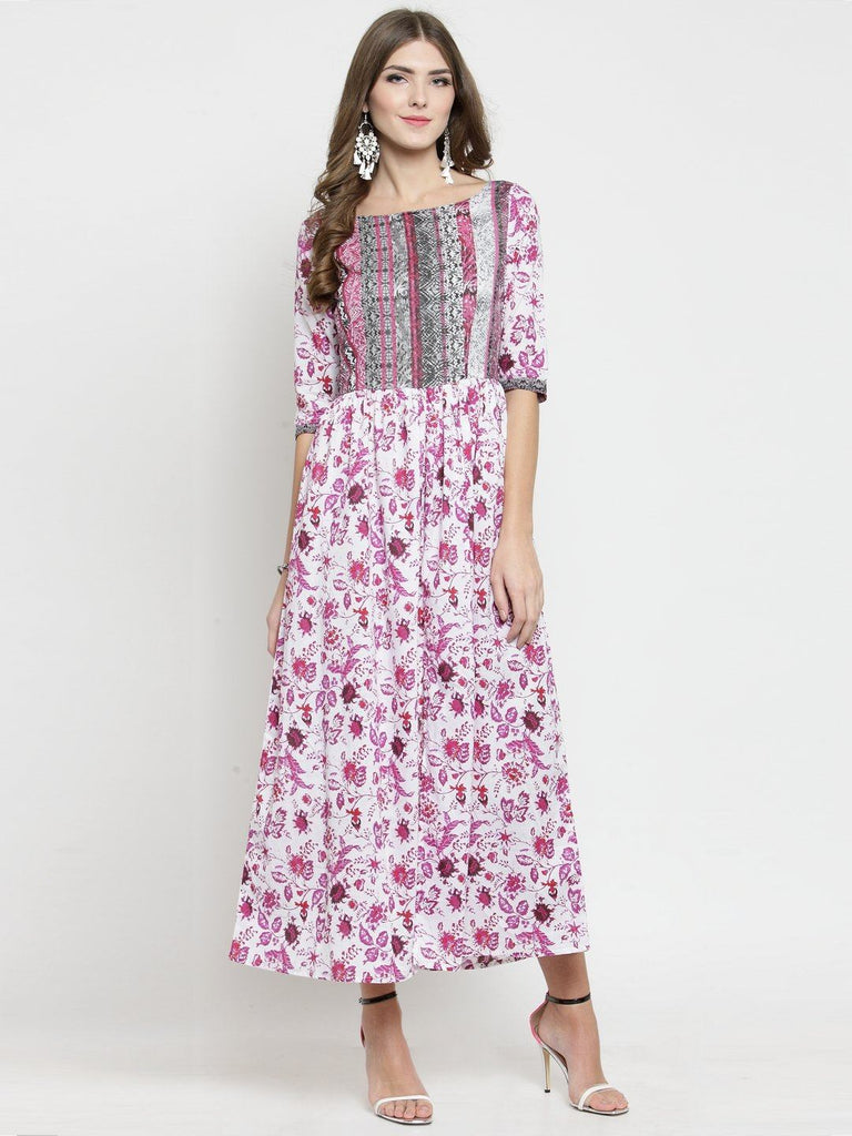 Sera Women White & Pink Printed Fit and Flare Dress