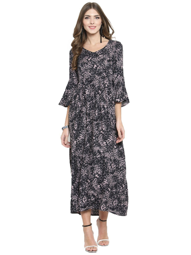 Sera Women Black Printed Fit and Flare Dress
