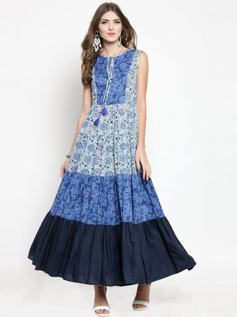 Sera Women Blue Printed Maxi Dress
