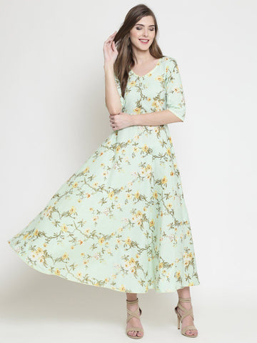 Sera Women Printed umbrella flare dress