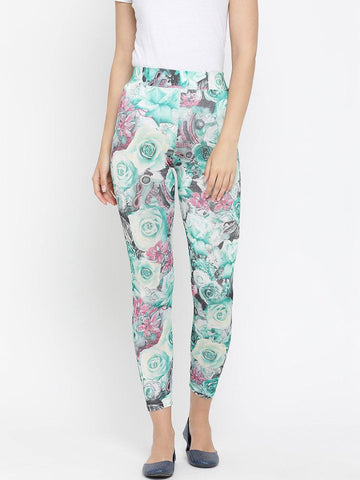 Floral Printed Green Viscose Leggings
