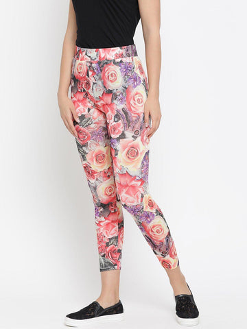 Floral Printed Pink Viscose Leggings