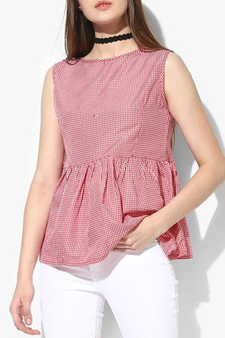 Cotton Red Women Top