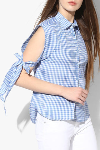 Cotton Blue Check Women Top
