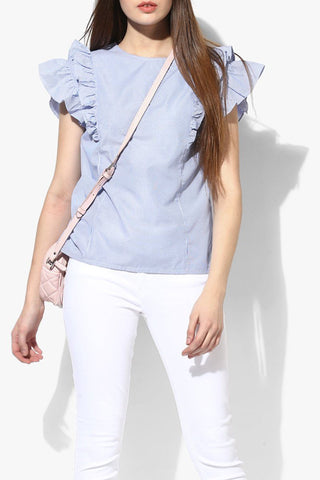 Simple Cotton Blue Women Top