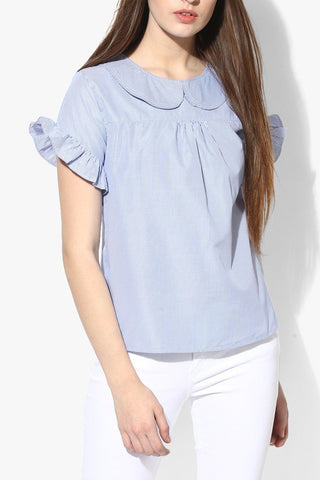 Simple Blue Women Top