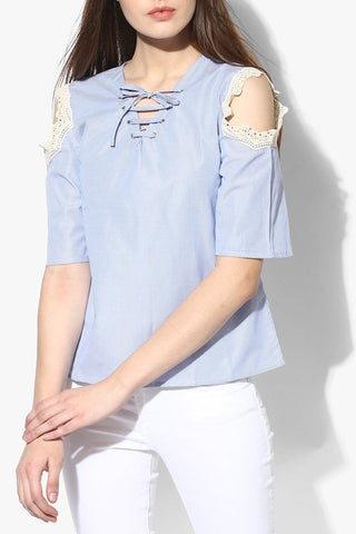 Cotton Blue Trendy Women Top
