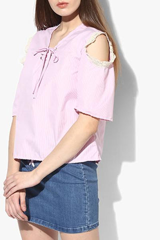 Cotton Pink Cold Shoulder Top