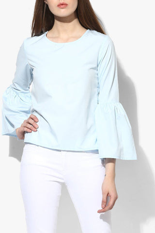 Snowy Blue Bell Sleeves Women Top