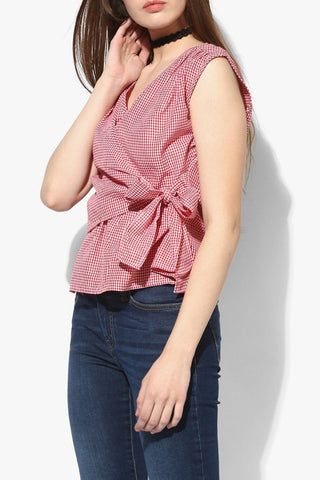Simple Red Women Top