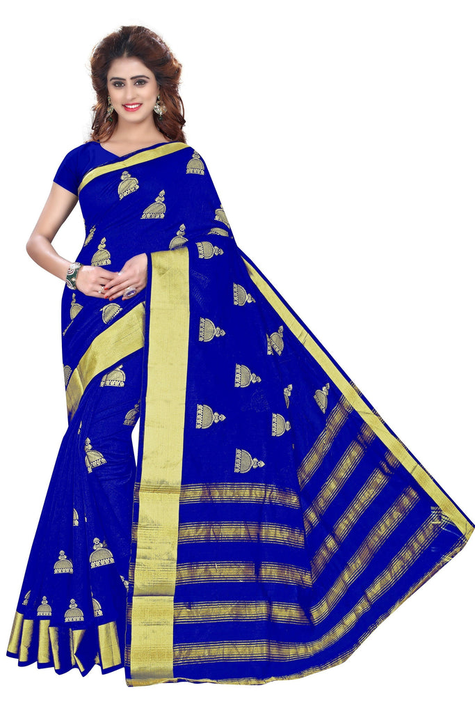 Florence Blue Cotton Silk Printed Saree with Blouse(FL-PT-LPF-Blue)