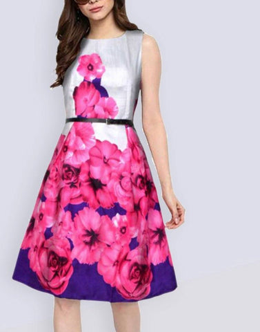 Stylish Pink Floral Dress