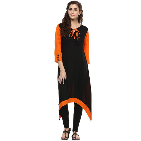 Solid Black Rayon C-Cut Kurtis