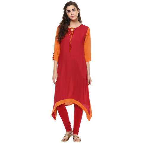 Solid Red Rayon C-Cut Kurtis