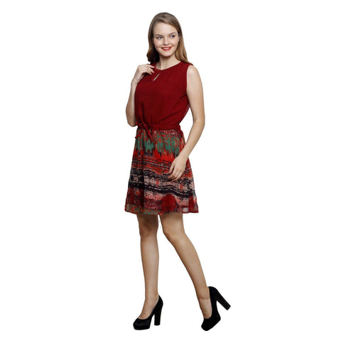 Fit And Flare Botanical Prints Shift Red Georgette Dress