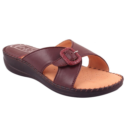 MSC Women Brown Leather Sandal