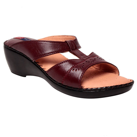 MSC Women Maroon Leather Sandal