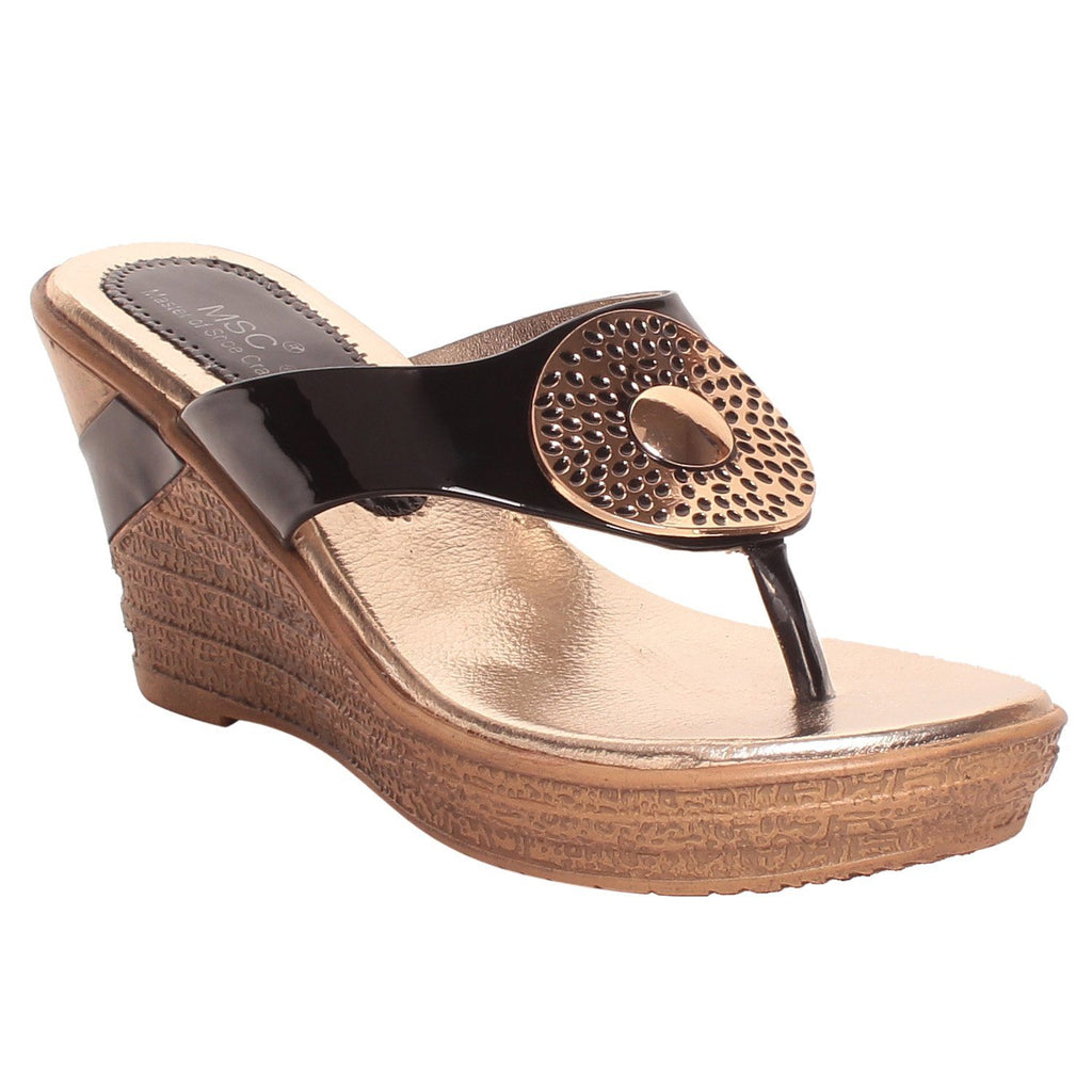 MSC Women Black Synthetic Wedge