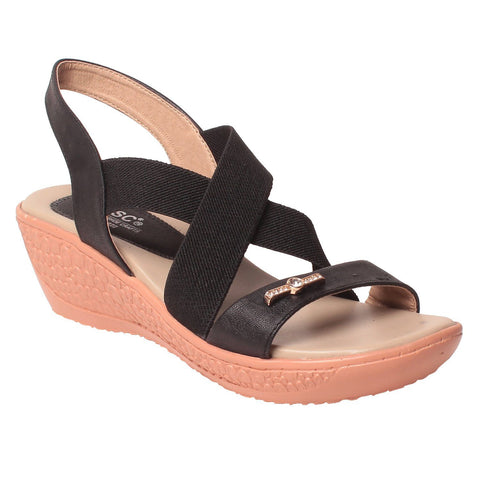MSC Women Black Synthetic Sandal