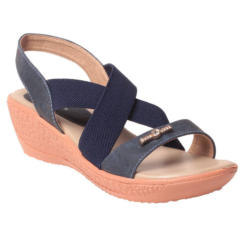 MSC Women Blue Synthetic Sandal