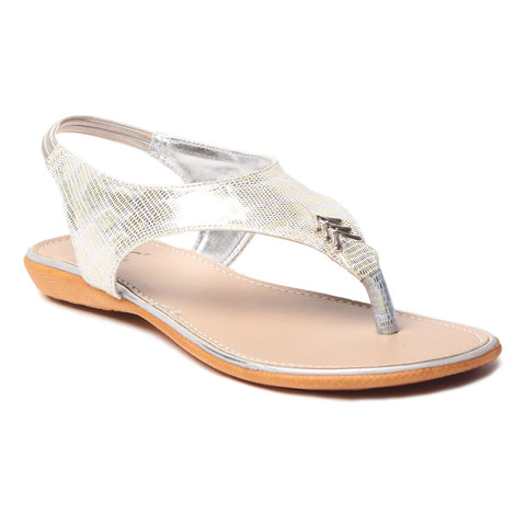 MSC Women Synthetic Silver Flat