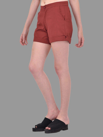 Maroon Cotton Twill Shorts
