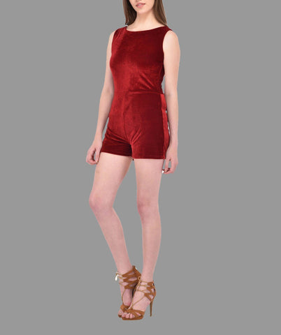 Maroon Velvet Playsuit