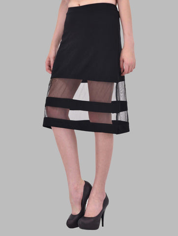 Mesh Panel Insert Black Midi Skirt