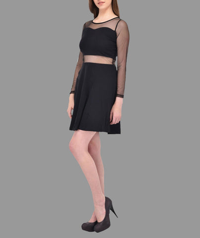 Mesh Panelled Black Dress
