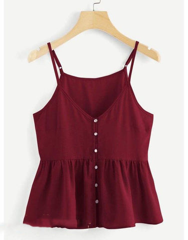 Mode Maroon Peplum Top