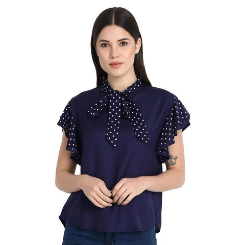 Nevy With White Dott Printed Top With Dotted Tie