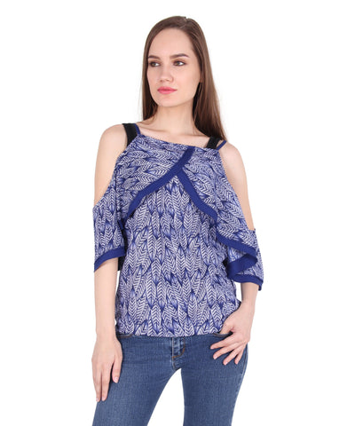 Drop Shoulder Blue Top
