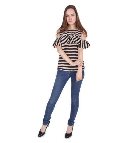 Frill Cold Shoulder Stripe Brown Top
