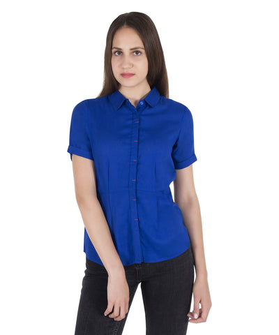 Cattleya Blue Short Sleeves Shirt