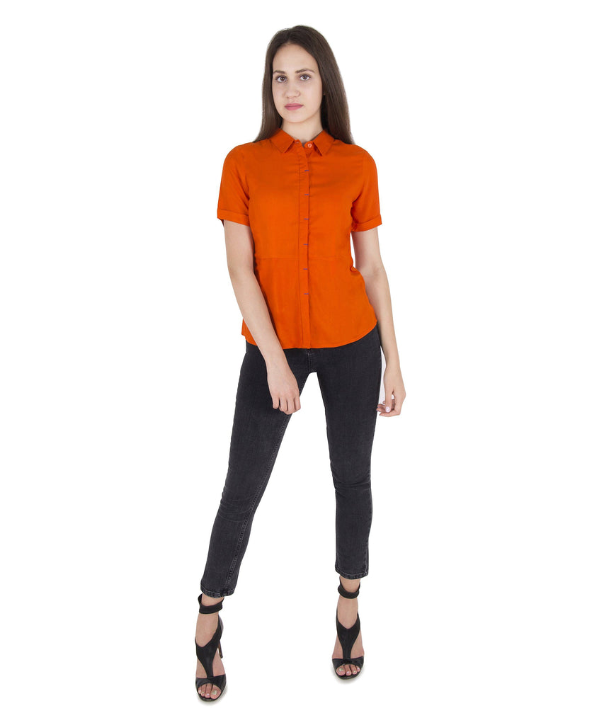 Cattleya Orange Short Sleeves Top