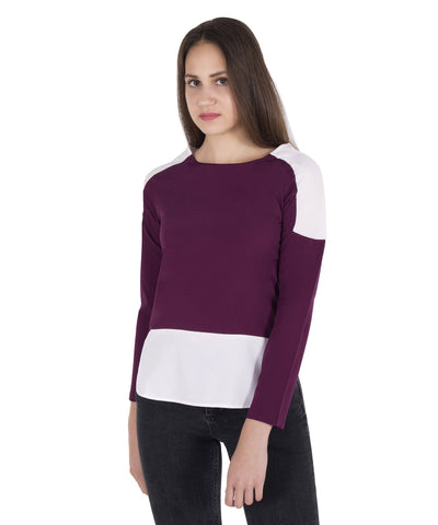 Color Block Long Sleeves Top